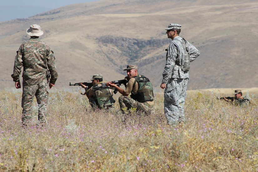 U.S. and Armenian soldiers train together in Armenia.