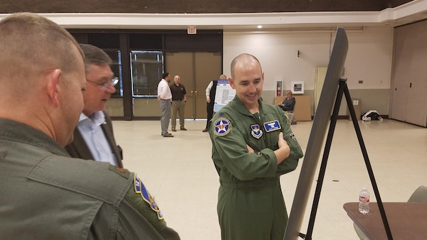 Pilots from 12 Flying Training Wing  present AICUZ information at the Nov 1 AICUZ Open House in Seguin, Texas. At the recent Open House events, organizers released a new 2017 AICUZ study, the first major update since the last Randolph 2008 study (amended in 2015). Seguin, also in this study, was last released in 2000.