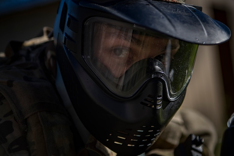 Maj. Elliott Milliken, 41st Rescue Squadron assistant director of operations, stands guard during training, Oct. 25, 2017, at Moody Air Force Base, Ga. The new, three-day combined training is designed to merge many smaller courses and seamlessly tie together skills that could be used in the event that Airmen become isolated during a mission. (U.S. Air Force photo by Senior Airman Daniel Snider)