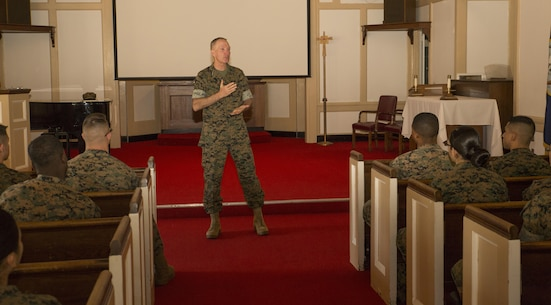 Lt. Gen. Mark A. Brilakis, Commander, U.S. Marine Corps Forces Command, speaks to Marines about retention and mutual respect for fellow Marines at POW/MIA Chapel, Naval Station Annex, Norfolk, Va. Oct. 31.  Brilakis explained the importance of maintaining a strong fighting force while maintaining a welcoming environment for Marines from all backgrounds and beliefs. (Official Marine Corps photo by Chris Jones/Released)