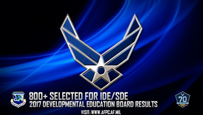 Officers selected for developmental education opportunities will attend intermediate- and senior-level development programs such as Air Command and Staff College, Air War College, National War College and more. (U.S. Air Force graphic)