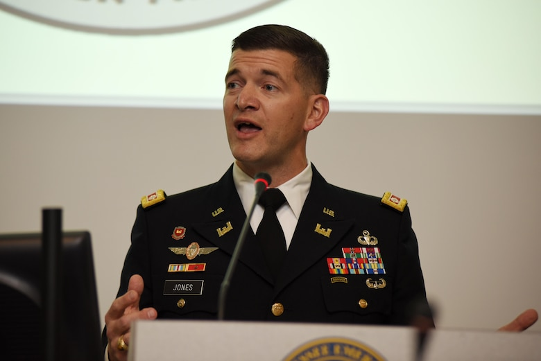 Lt. Col. Cullen Jones, U.S. Army Corps of Engineers Nashville District commander, speaks during a quarterly Tennessee Silver Jackets meeting with federal, state and local partners at the TEMA Headquarters in Nashville, Tenn., Oct. 31, 2017. (USACE photo by Leon Roberts)