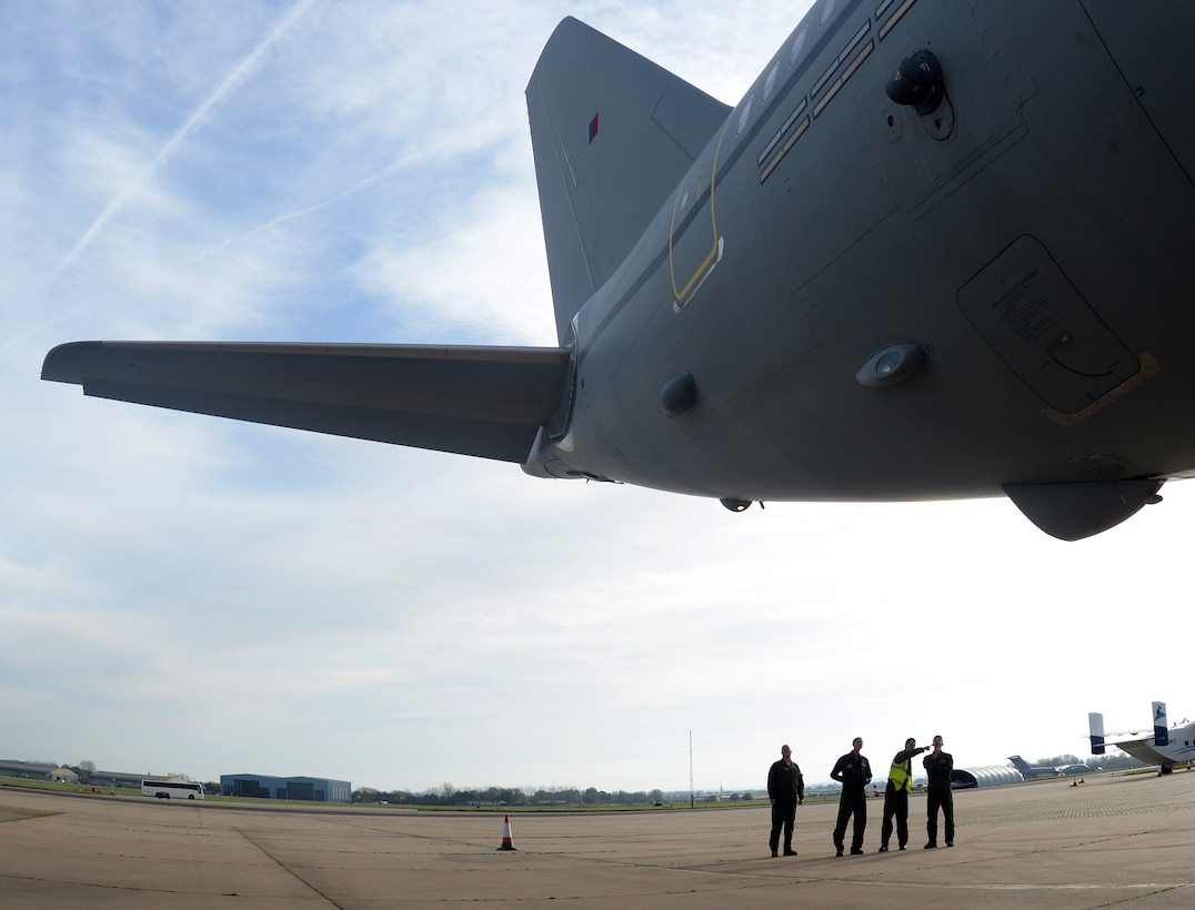 U.S Air Force KC-135 Stratotanker aircrew tour a Royal Air Force A330 Voyager Nov. 1, 2017, on RAF Brize Norton, England. The 100th Air Refueling Wing provided aircrew and maintainers in support of Exercise Tartan Flag, Oct. 30 to Nov. 3. (U.S. Air Force photo by Senior Airman Justine Rho)