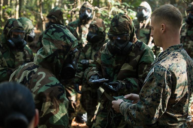 U.S. Marine Corps Cpl. Kevin M. Garrity, right, a chemical, biological, radiological, nuclear defense specialist with the 26th Marine Expeditionary Unit (MEU), briefs Marines on an M256A1 Chemical Agent Detector kit during a CBRN training event at Camp Lejeune, N.C., Oct. 30, 2017.
