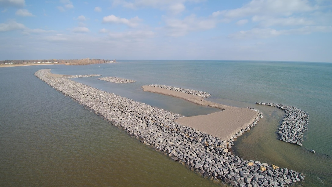 Aerial view of the Braddock Bay Ecosystem Restoration, Barrier Beach, Greece, NY constructed under the U.S. Army Corps of Engineers, Interagency and International Services program (photo by Brian Steils, USACE Contract Representative).