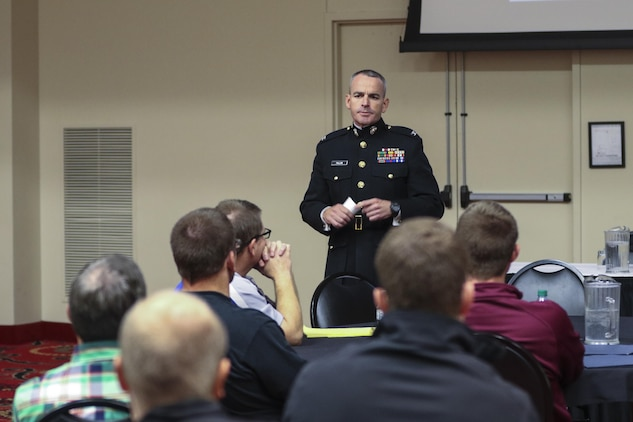 Colonel David Fallon, commanding officer, 9th Marine Corps District, Marine Corps Recruiting Command, attended the 33rd Annual Convention of the Iowa Wrestling Coaches and Officials Association as a guest speaker in Des Moines, Iowa, Oct. 29, 2017. (Official Marine Corps photo by Sgt. Levi Schultz)
