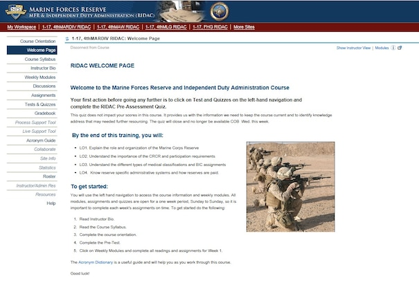 A screenshot of the Reserve and Independent Duty Administration Course on the Naval Post Graduate website.