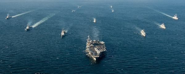IMAGE: WATERS SURROUNDING THE KOREAN PENINSULA - Ships assigned to the John C. Stennis Carrier Strike Group and ships assigned to the Republic of Korea Navy, 1st Fleet Maritime Battle Group One, are underway in formation during a Maritime Counter Special Operations Force exercise. The Navy is refocusing efforts to develop and deploy new electromagnetic maneuver warfare technologies for integration in the Fleet and its carrier strike groups, the Naval Surface Warfare Center Dahlgren Division announced, Nov. 1, 2017.  (U.S. Navy photo by Mass Communication Specialist 3rd Class Andre T. Richard/Released)