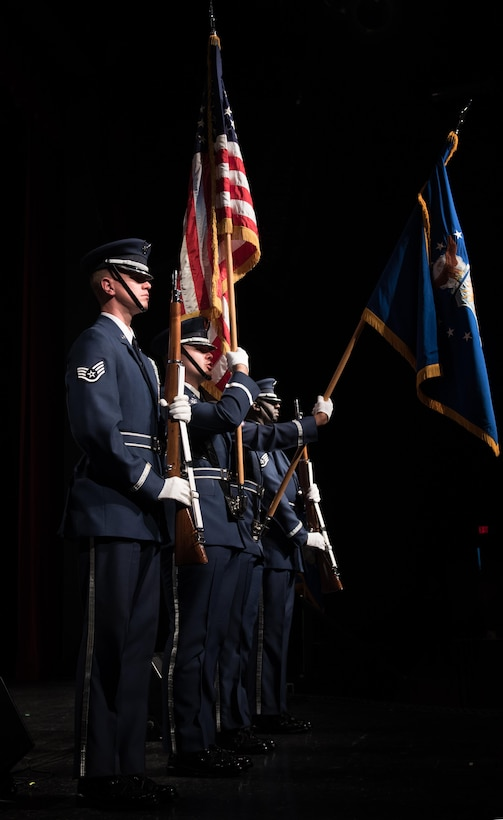Members of the United States Air Force Honor Guard display the colors during the performance of the National Anthem in Effingham, IL. (U.S. Air Force photo courtesy of CMSgt Bob Kamholz/Released)