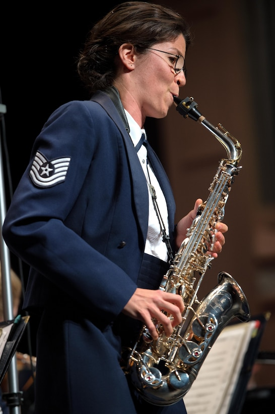 TSgt Carolyn Braus was a featured soloist with the concert band during the fall 2017 Tour (U.S. Air Force photo by CMSgt Bob Kamholz/Released)