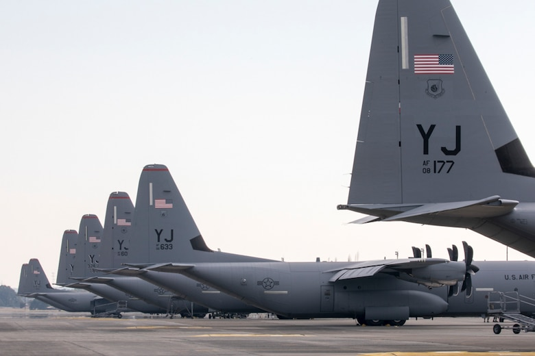 Seven C-130J Super Hercules' aircraft from the 36th Airlift Squadron sit on the flightline at Yokota air base, Japan, Nov. 1, 2017.