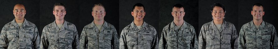 From left to right, U.S. Air Force Staff Sgt. Eric Delay, Airman 1st Class Andrew Dutton, Staff Sgt. Ian Linker, Senior Airman Edwin Mendoza, Tech. Sgt. Thomas Reid, Senior Airman Juli Taylor and Senior Airman Shawn Thomson, all crew chiefs assigned to the 509th Aircraft Maintenance Squadron, embody the Air Force core value of Service before Self when they traveled from Whiteman Air Force Base, Mo., Oct. 1 to 8, 2017, to Texas in support of hurricane relief efforts.