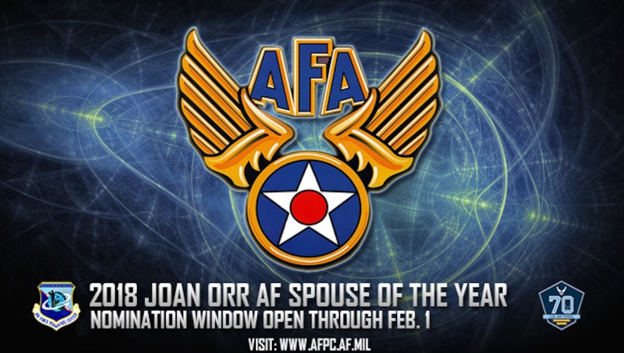 Air Force officials are currently accepting nominations for the Joan Orr Air Force Spouse of the Year Award through Feb. 1, 2018. This award honors significant contributions made by non-military spouses of Air Force military members. (U.S. Air Force graphic)