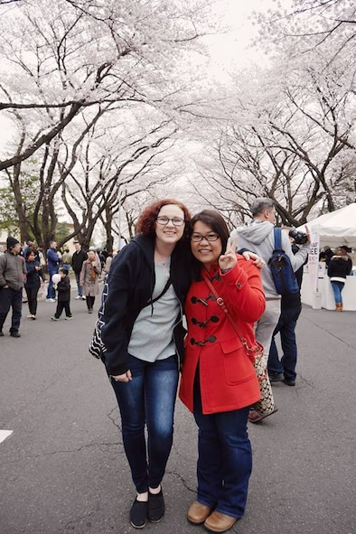 Senior Airman Margaret Merkling, 819th RED HORSE Squadron knowledge operator, left, and her friend Takako in Japan.