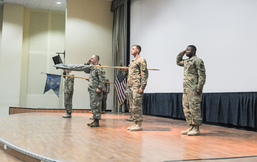 Soldiers conduct a transfer of authority ceremony.