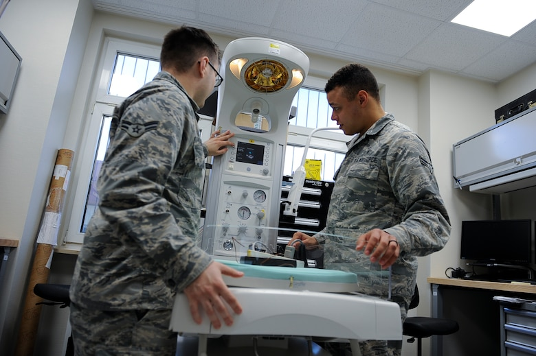 Biomedical equipment technician Airmen assigned to LRMC install, inspect, repair, calibrate, and modify biomedical equipment and support systems.