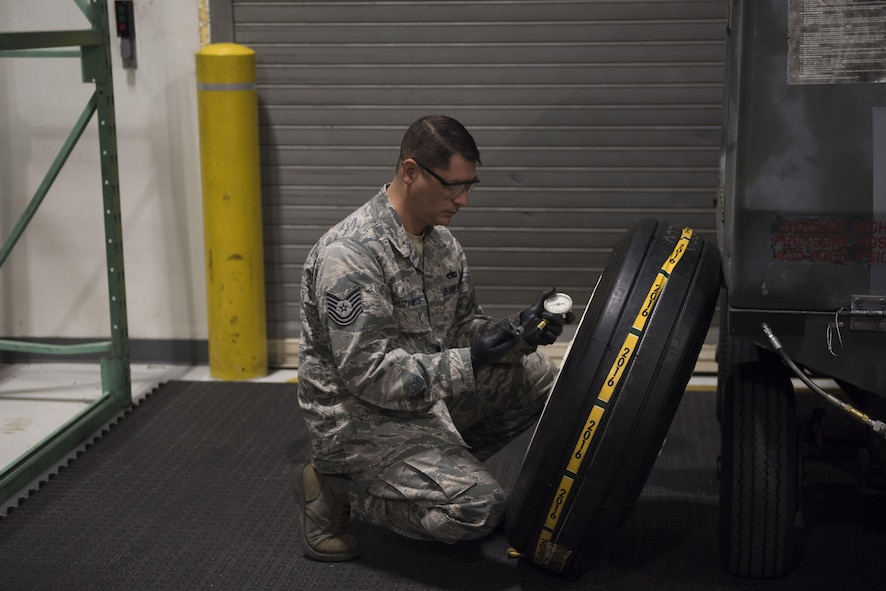 The 366th Equipment Maintenance Squadron wheel and tire shop spends numerous hours making sure the tires that go through the shop are in top-notch condition so they can endure the stressors of supporting F-15E Strike Eagles.
