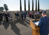 A chaplain provides remarks during a ceremony honoring OSI agent David Wieger during at Travis Air Force Base, Calif., Nov. 1, 2017. Wieger was killed in 2007 when an improvised explosive device struck his vehicle during his deployment in support of Operation Iraqi Freedom. The Office of Special Investigation, 12th Field Investigation Squadron, unveiled the renaming of their building to the fallen OSI agent. Wieger was stationed at Travis at the time and was posthumously awarded the Bronze Star, Purple Heart, AF Commendation Medal, and AF Combat Action Medal. (U.S. Air Force photo by Louis Briscese)