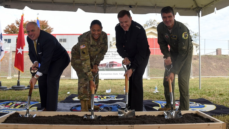 Maryland Gov. Larry Hogan, Maj. Gen. Linda Singh, the adjutant general of Maryland, Admiral Michael Rogers, Commander of U.S. Cyber Command and Director of the National Security Agency, and Gen. Randolph Staudenraus, 175th Wing Commander, break ground for the 175th Cyberspace Operations Squadron new facility, Nov. 2, 2017 at Fort George G. Meade, Maryland. The new building will be a single-story, 9,000-square-foot facility providing operational and command space for missions supporting Maryland, the National Security Agency and the United States Cyber Command. (U.S. Air National Guard photo by Senior Airman Enjoli Saunders)