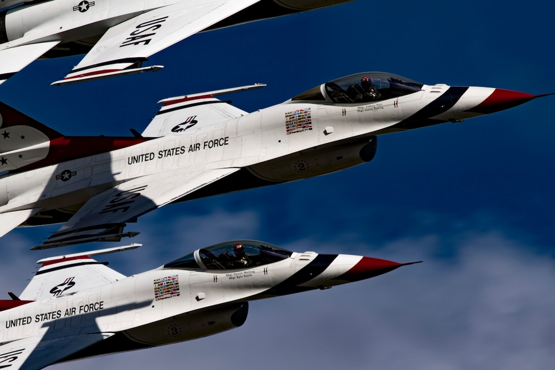 The U.S. Air Force Thunderbirds Flight Demonstration Team soars above Moody Air Force Base, Ga., during the Thunder Over South Georgia Air Show, Oct. 28, 2017. The Thunderbirds, based out of Nellis AFB, Nev., are the Air Force's premier aerial demonstration team, performing at shows and special events worldwide. (U.S. Air Force photo by Senior Airman Daniel Snider)