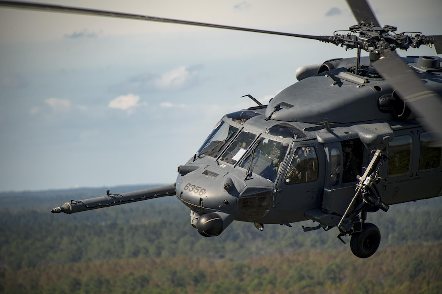 An HH-60G Pave Hawk flies in a demonstration during the Thunder Over South Georgia Air Show, Oct. 28, 2017, at Moody Air Force Base, Ga. The open house provided an opportunity for Moody AFB to thank the local community for its support and included aerial performances, food, face painting and more. (U.S. Air Force photo by Staff Sgt. Ryan Callaghan)