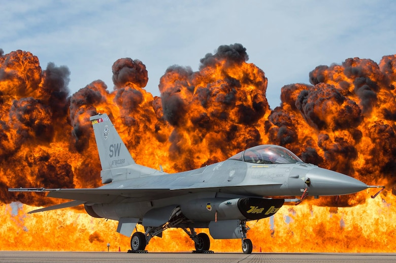 An Air Force F-16 Viper sits just a few hundred feet from the wall of fire at the Fort Worth Alliance Air Show, Oct. 28, 2017 at Fort Worth, Texas. (Courtesy photo by Air Force Viper Demo Team)