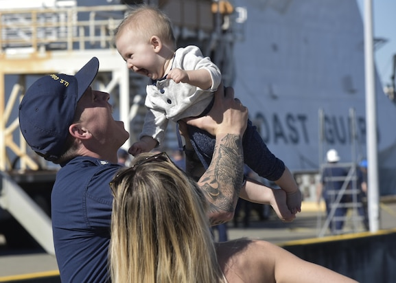 Image of Coast Guard family reunion after the Cutter Bertholf returned to homeport