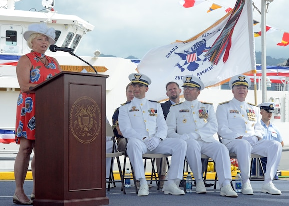 Image of the Coast Guard Cutter Oliver Berry commissioning in Honolulu, Hawaii