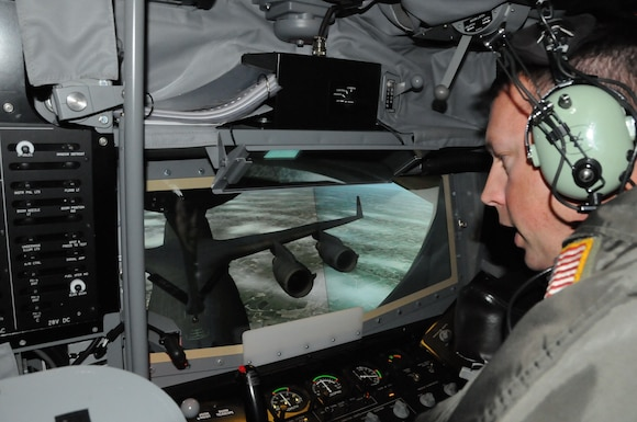 Senior Master Sgt. Tim Garrison, boom operator with the 153rd Air Refueling Squadron, operates the boom operator simulator system (BOSS) at Key Field Air National Guard Base, Meridian, Miss., Oct. 25, 2017.