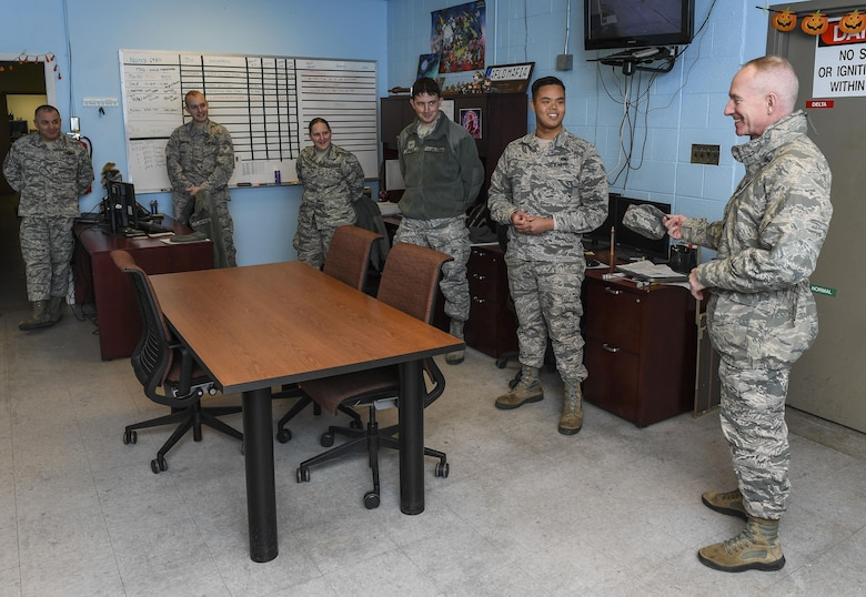 Chief Master Sgt. Alan Boling, Eighth Air Force command chief, visited Minot Air Force Base, N.D., Oct. 31, 2017. During his visit, Boling toured the Air Traffic Control tower, the alert facility and the B-52H Stratofortress parking areas.