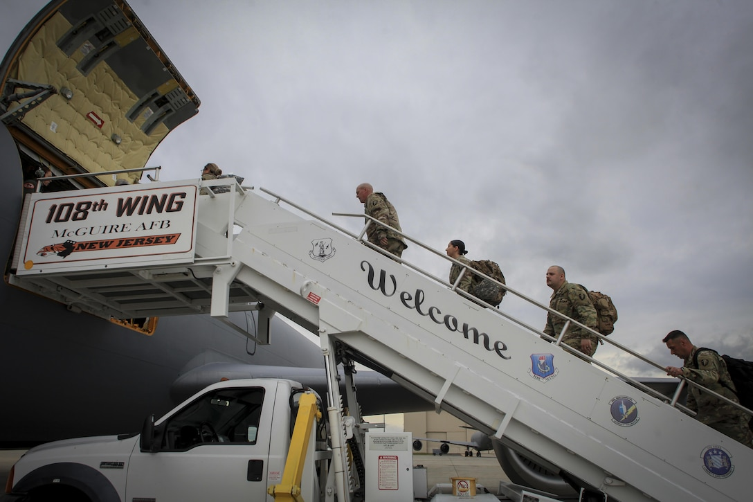 Soldiers from the New Jersey Army National Guard's 44th Infantry Brigade Combat Team board a KC-135 Stratotanker from the New Jersey Air National Guard's 108th Wing on Joint Base McGuire-Dix-Lakehurst, N.J., Oct. 16, 2017. The 108th Wing transported the soldiers and their gear to Puerto Rico to assist in the continued recovery efforts in the wake of Hurricane Maria. (U.S. Air National Guard photo by Master Sgt. Matt Hecht)