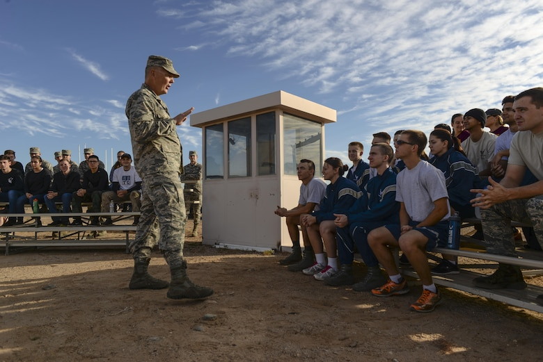 Col. Robert Sylvester, 56th Mission Support Group commander, gives a speech to ROTC cadets from local detachments before the start of the 4th annual Luke Mudder at Luke Air Force Base, Ariz., Nov. 3, 2017. Approximately 70 cadets attended the event to compete against one another and receive mentorship from current active duty officers. (U.S. Air Force photo/Airman 1st Class Caleb Worpel)