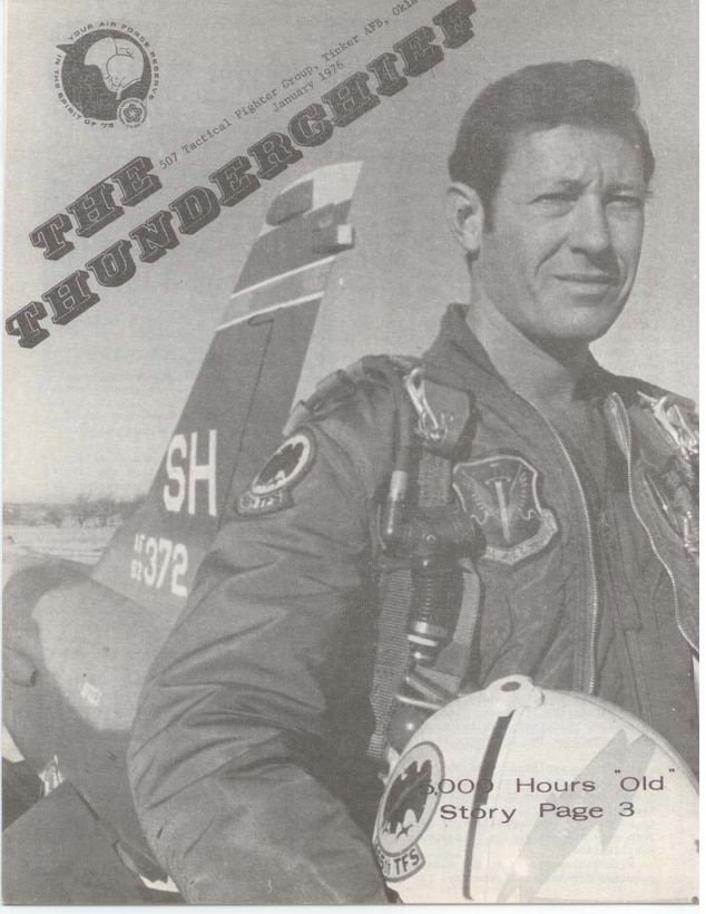 This is the cover of the Thunderchief newspaper from January 1975.  The Newspaper details the mission of the 507th Tactical Group, U.S. Air Force Reserve at Tinker Force Base, Oklahoma.  The cover story is about a Reserve pilot that flew an F-105 for its 5,000th hour.  The 507th Tactical Fighter Group reactivated here and replaced the 937th Military Airlift Group for the Air Force Reserve on May 20, 1972. This made the 507th TFG the first Air Force Reserve group to have fighter aircraft in nearly twenty years. (U.S. Air Force Photo)