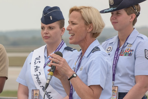 Brig. Gen. Heather Pringle, 502nd Air Base Wing and Joint Base San Antonio commander, delivers the opening remarks at the 2017 JBSA Air Show and Open House Nov. 4, 2017, at JBSA-Lackland, Kelly Field. The 2017 Air Show and Open House is taking place Nov. 4-5 and is open for free to the public. (U.S. Air Force photo by Senior Airman Stormy Archer)