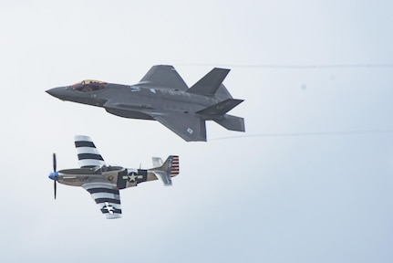 The F-35 Lightning II Heritage Flight performs at the Joint Base San Antonio Air Show and Open House Nov. 4, 2017, at JBSA-Lackland, Kelly Field, Texas. The F-35A Heritage Flight Team at Luke Air Force Base teams up with Air Force Heritage flight exhibiting the professional qualities the Air Force develops in the people who fly, maintain and support these aircraft.