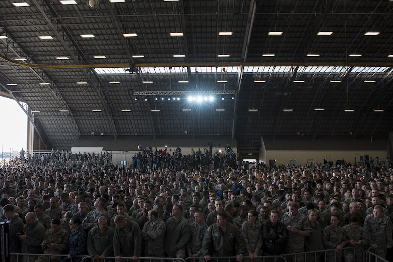 U.S. and Japanese military members wait for the arrival of President Donald J. Trump, before a Troop Talk, Nov. 5, 2017, at Yokota Air Base, Japan.