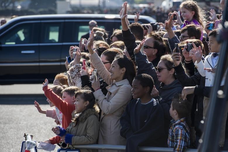 U.S. service member's families wave to President Donald J. Trump, Nov. 5, 2017, at Yokota Air Base, Japan.