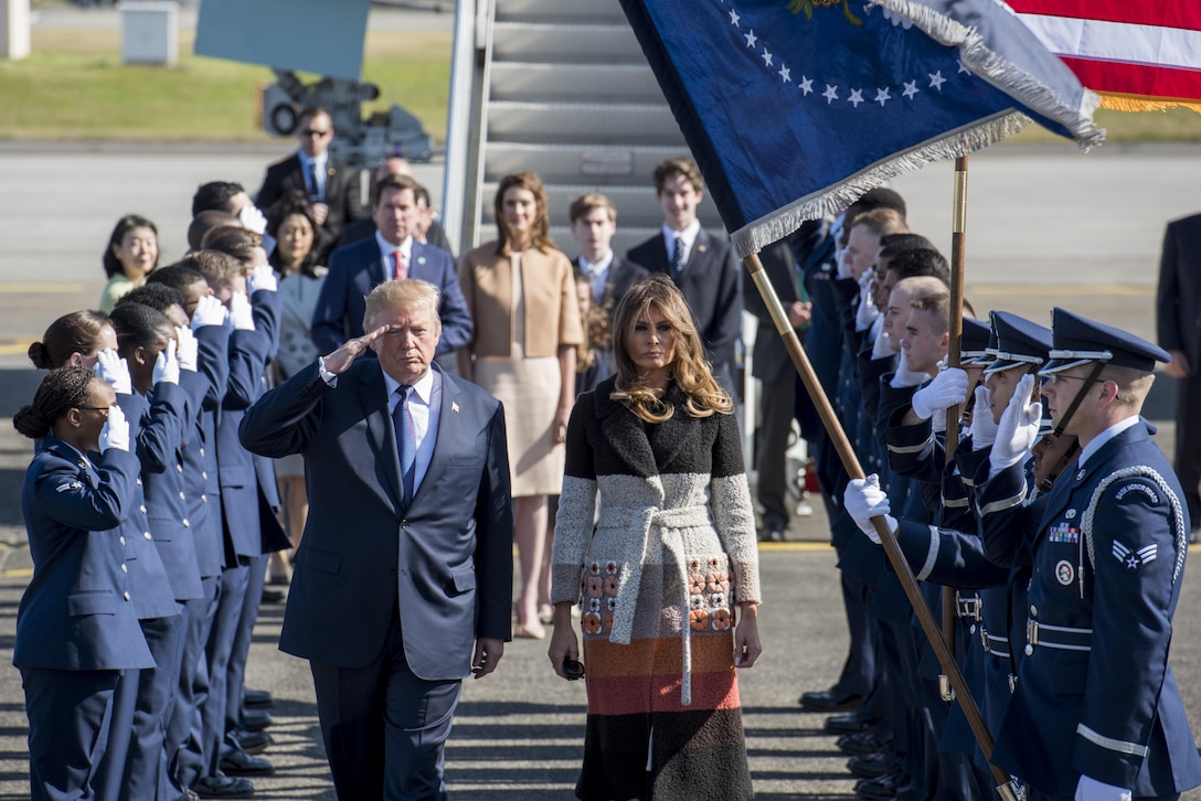 President Donald J. Trump and First Lady Melania Trump are greeted to Japan by the Yokota Air Base Honor Guard, Nov. 5, 2017, at Yokota Air Base, Japan.