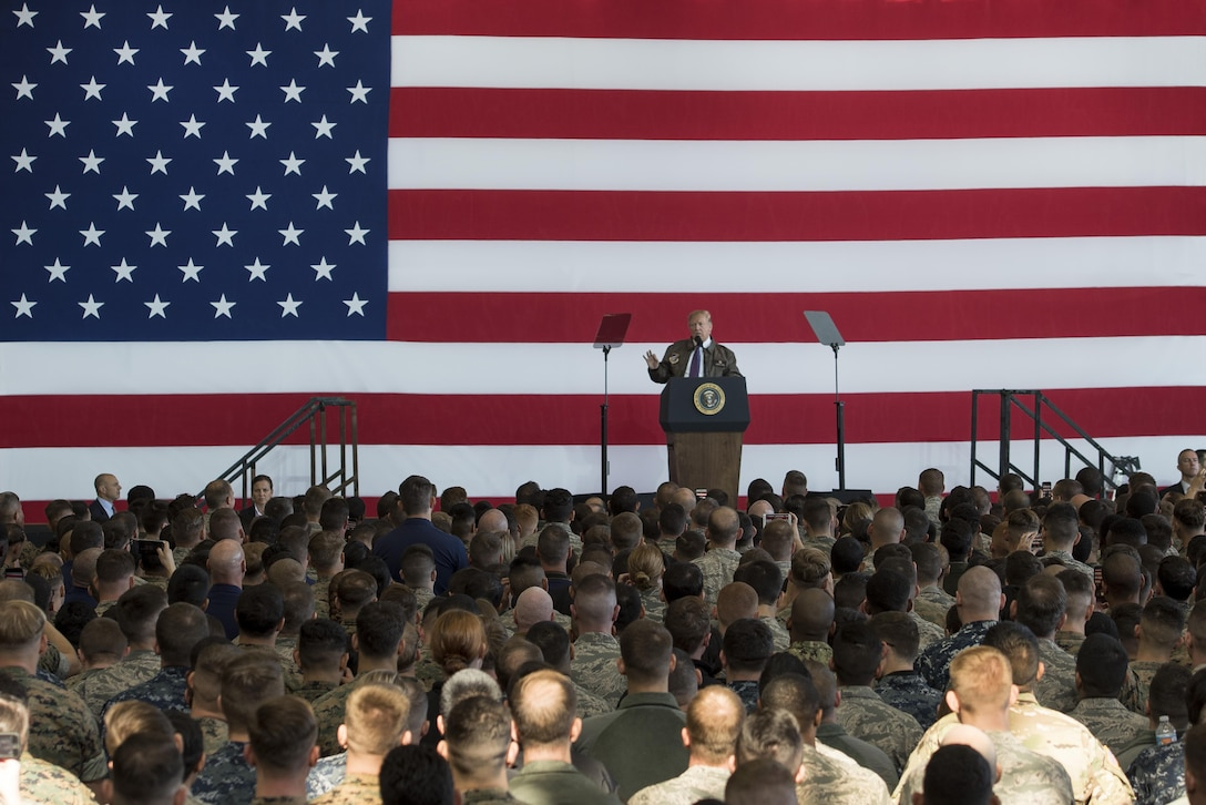 President Donald J. Trump speaks to service members and their families during a Troop Talk, Nov. 5, 2017, at Yokota Air Base, Japan.