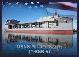 Secretary of the Navy Richard V. Spencer announced the Navy's newest Expeditionary Sea Base (ESB) ship, T-ESB 5, will be named in honor of Marine Corps Vietnam veteran and Medal of Honor recipient Miguel Keith during a ceremony in National Harbor, Maryland, Nov. 4.