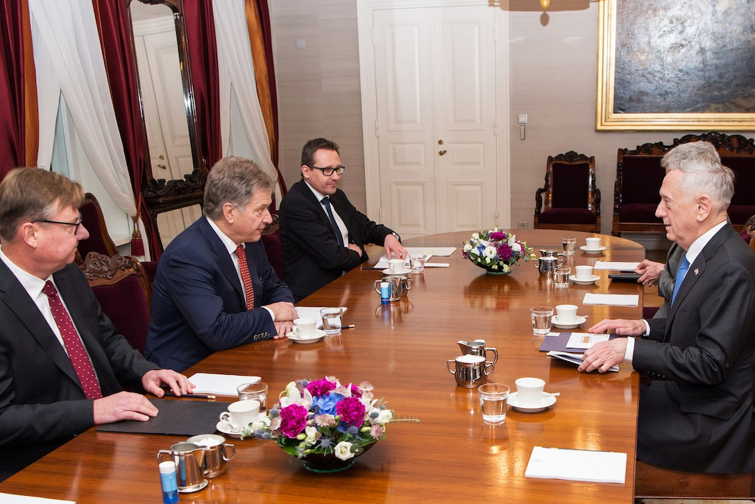 Defense Secretary Jim Mattis meets with the president of Finland.