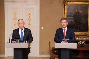 Defense Secretary Jim Mattis and Finland's President Sauli Niinistö speak to the media at the Presidential Palace in Helsinki, Finland.