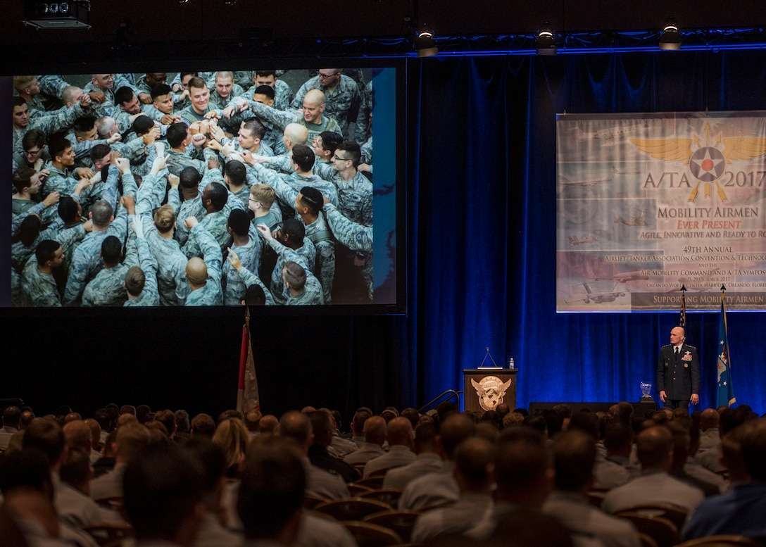 Gen. Carlton D. Everhart II, Air Mobility Command commander, gves the closing address for the Airlift/Tanker Association Symposium in Orlando, Fla., Oct. 26, 2017. A/TA provides leadership the opportunity to better understand the impact that more than 124,000 Total Force Mobility Airmen have on the global mobility mission. (U.S. Air Force photo by Tech. Sgt. Jodi Martinez)