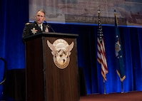 "Gen. Robert Abrams, U.S. Army Forces Command commanding general speaks at the Airlift/Tanker Association and Air Mobility Command Symposium in Orlando, Fla., Oct. 26, 2017. This year's conference theme, ""Mobility Airmen: Agile, Innovative and Ready to Roll,"" provides Air Force leadership, industry experts, and academia an opportunity to work together with current and former Mobility Airmen from around the world to discuss issues and challenges facing America and the Air Mobility community. A/TA provides leadership the opportunity to better understand the impact that more than 124,000 Total Force Mobility Airmen have on the global mobility mission. (U.S. Air Force photo by Tech. Sgt. Jodi Martinez)"