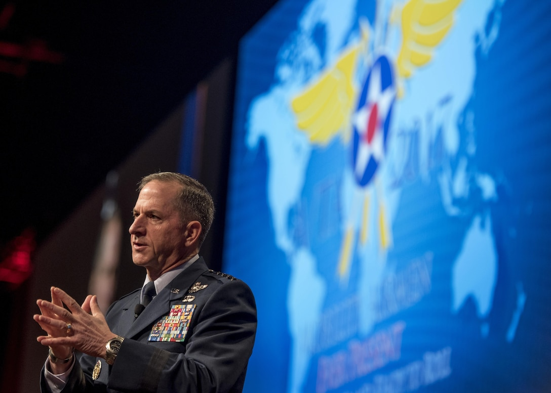 """Cheif of Staff of the Air Force David Goldfein speaks during the Airlift/Tanker Association Symposium in Orlando, Fla., Oct. 26, 2017. Goldfein stressed the importance of taking control of the space mission, working more cognitively to defeat adversaries, and taking care of the Airmen. This year's conference theme, """"Mobility Airmen: Agile, Innovative and Ready to Roll,"""" provides Air Force leadership, industry experts, and academia an opportunity to work together with current and former Mobility Airmen from around the world to discuss issues and challenges facing America and the Air Mobility community. A/TA provides leadership the opportunity to better understand the impact that more than 124,000 Total Force Mobility Airmen have on the global mobility mission. (U.S. Air Force photo by Tech. Sgt. Jodi Martinez)"""