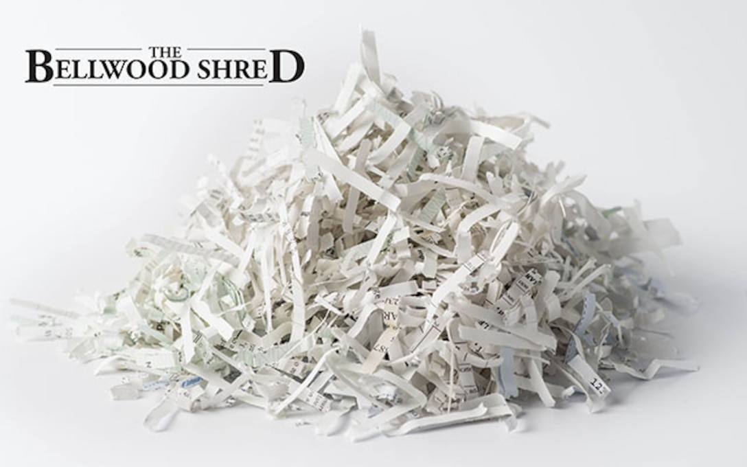 picture of pile of shredded paper with Bellwood shred at top.