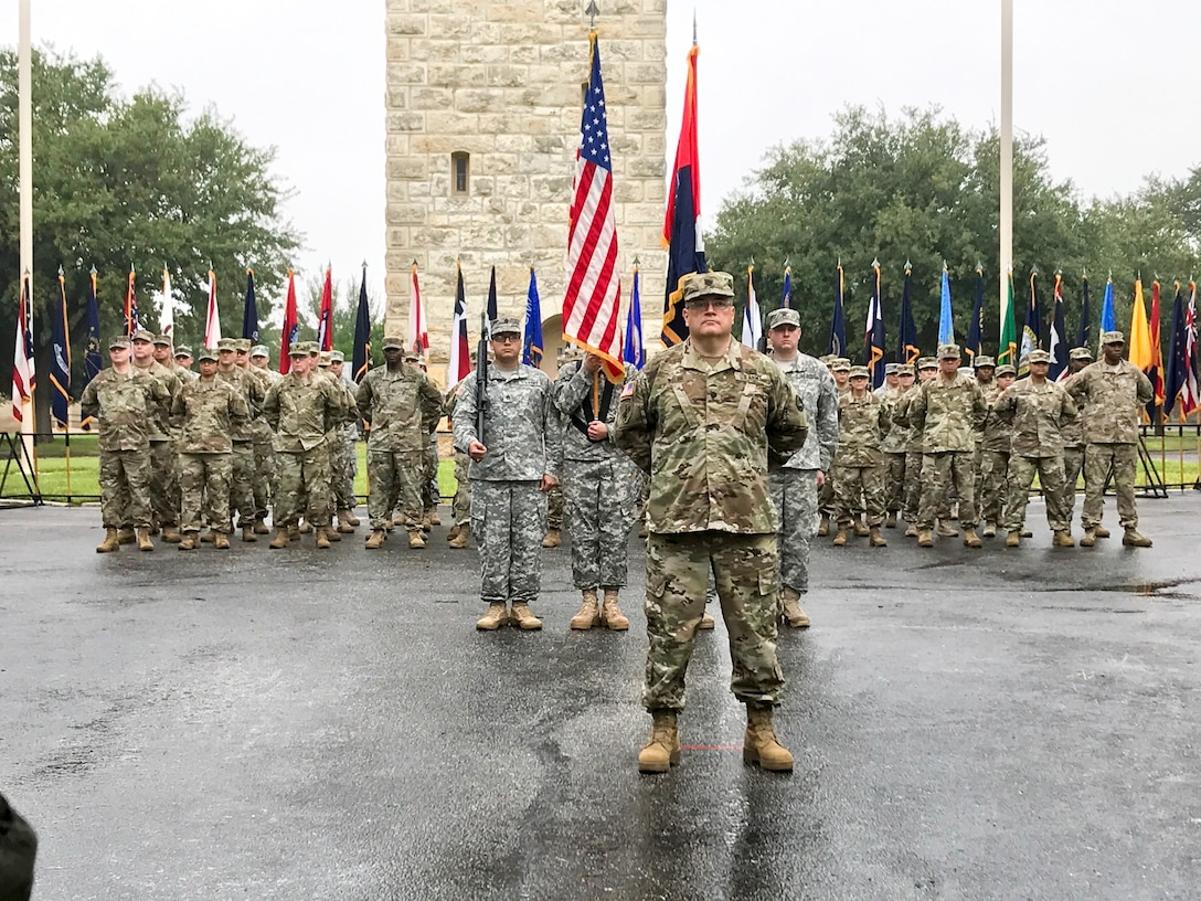 The 4th Brigade, 100th Training Division, officially transitioned to the 94th Training Division - Force Sustainment during a patch ceremony at Fort Sam Houston, Texas on Nov. 3, 2017. Soldiers assigned to the 4th Brigade serve as instructors for the 68 military occupational series. (U.S. Army Reserve Photo by Sgt. 1st Class Emily Anderson)