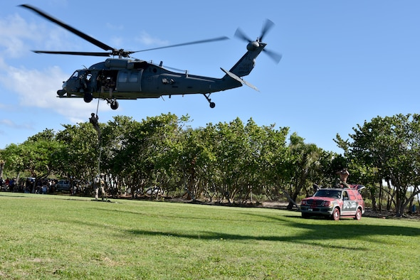 301st Rescue Squadron tactical demonstration at the 32nd Annual Muster and Music Festival Nov. 3