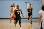 U.S. Army Sgt. Donita Adams, serving with the Maryland National Guard, one of the returning players from 2016.  (U.S. Navy photo by Mass Communication Specialist 2nd Class Emiline Senn/Released)