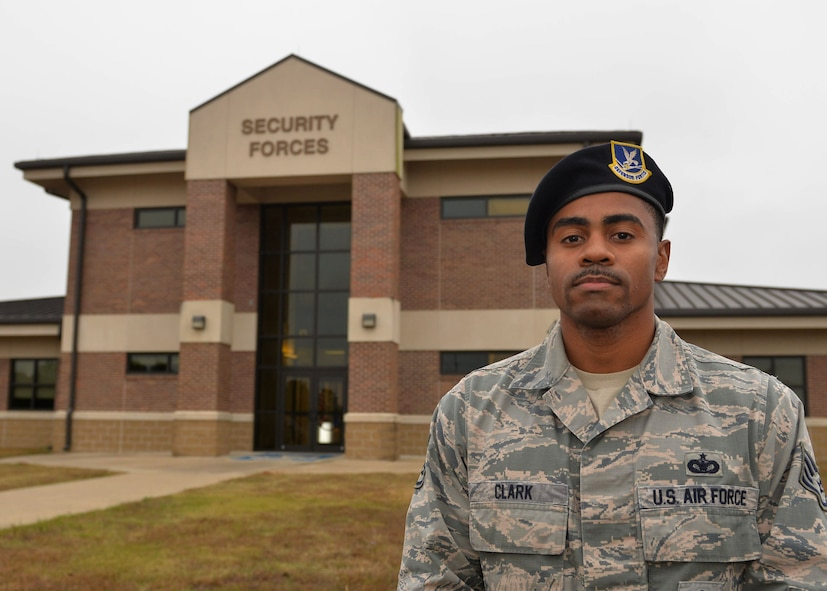 Staff Sgt. George Clark, 19th Security Forces Squadron base defense operations center controller, is nominated as the Combat Airlifter of the Week Nov. 6, 2017 at Little Rock Air Force Base, Ark.